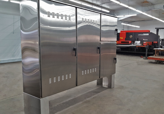 three-door custom stainless steel enclosure